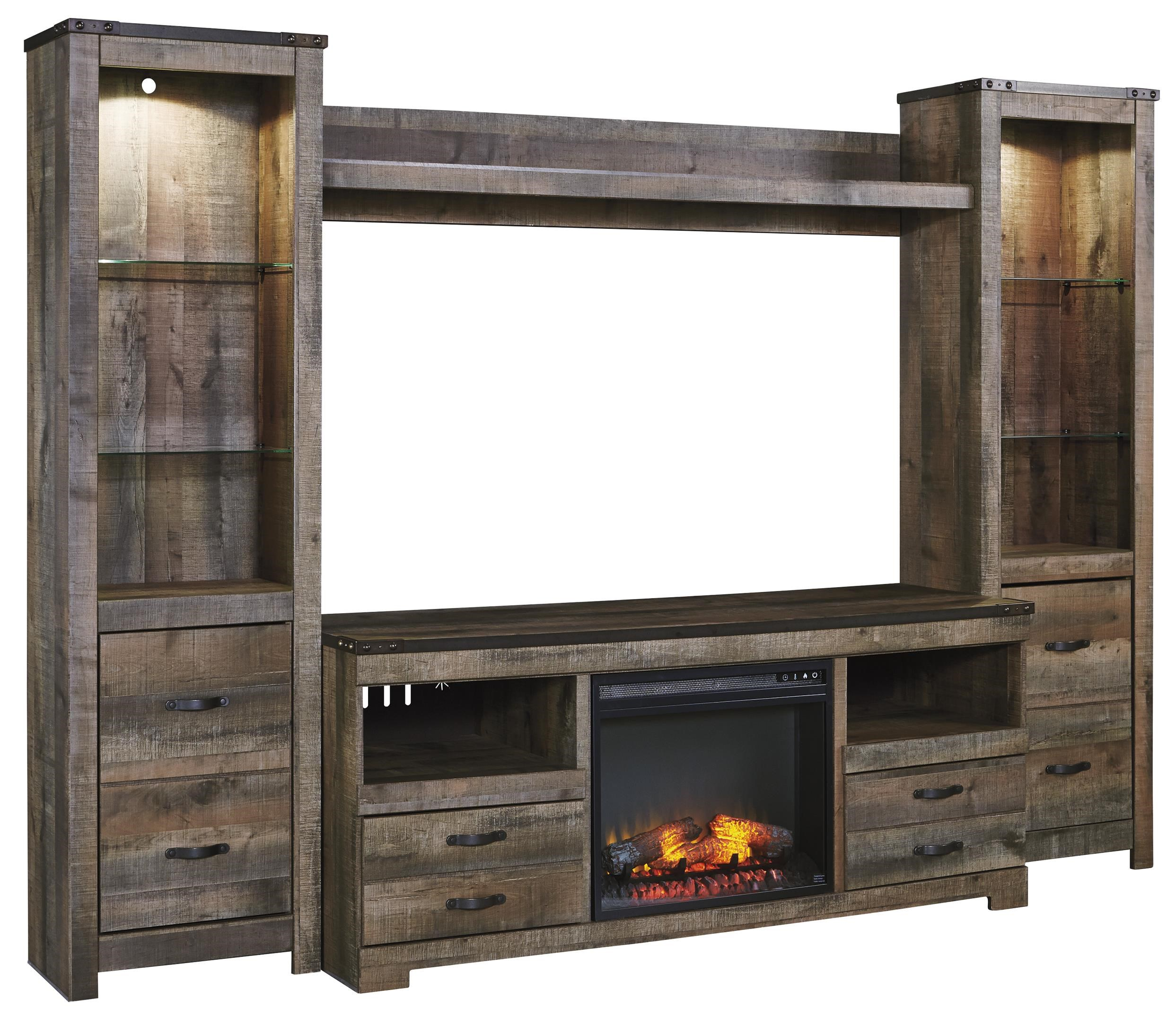 Signature Design By Ashley Trinell Rustic Large TV Stand W/ Fireplace  Insert, 2 Tall Piers, U0026 Bridge   John V Schultz Furniture   Wall Unit