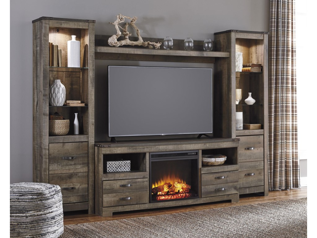Signature Design by Ashley TrinellLarge TV Stand w/ Fireplace, Piers, & Bridge