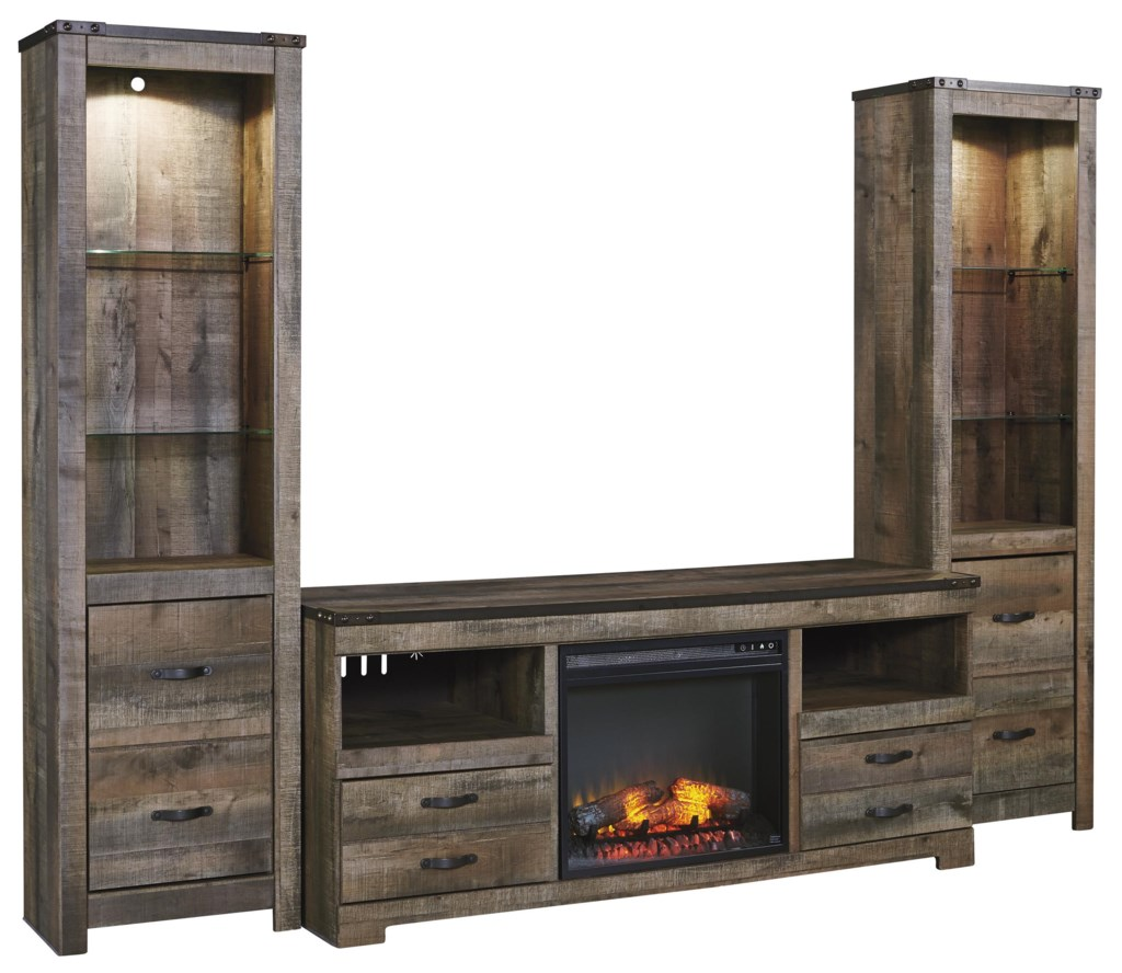 Ashley Signature Design Trinell Rustic Large Tv Stand W Fireplace