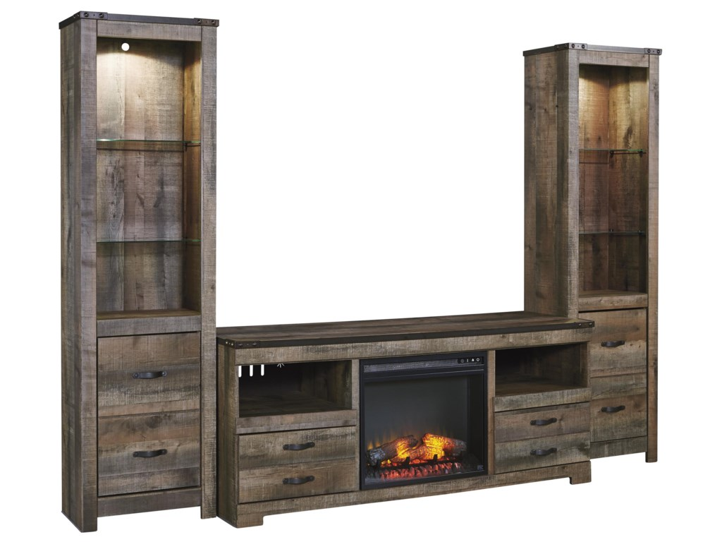 Signature Design By Ashley Trinelllarge Tv Stand W Fireplace 2 Tall Piers