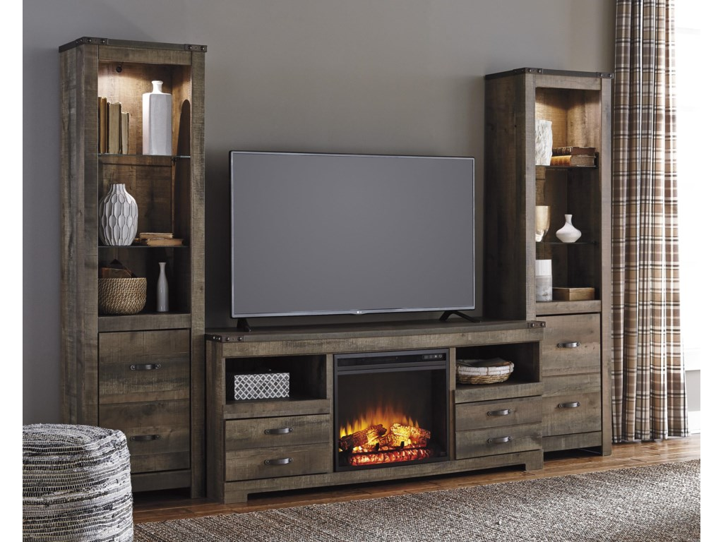 Signature Design by Ashley TrinellLarge TV Stand w/ Fireplace & 2 Tall Piers
