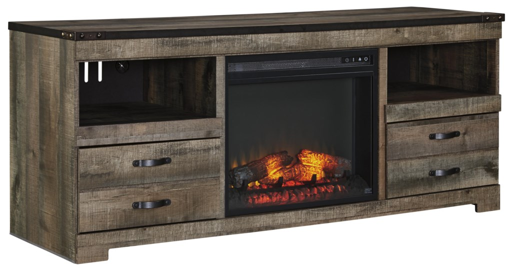 Ashley Signature Design Trinell Rustic Large Tv Stand With Fireplace