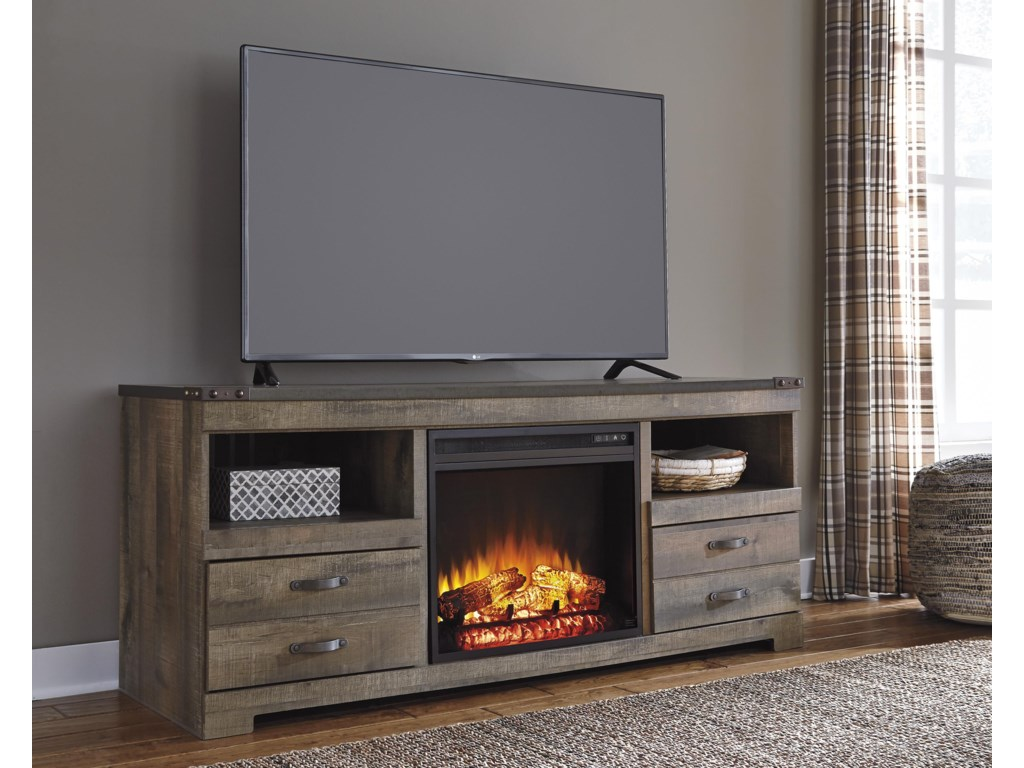 Signature Design by Ashley Urban RusticLarge TV Stand with Fireplace Insert