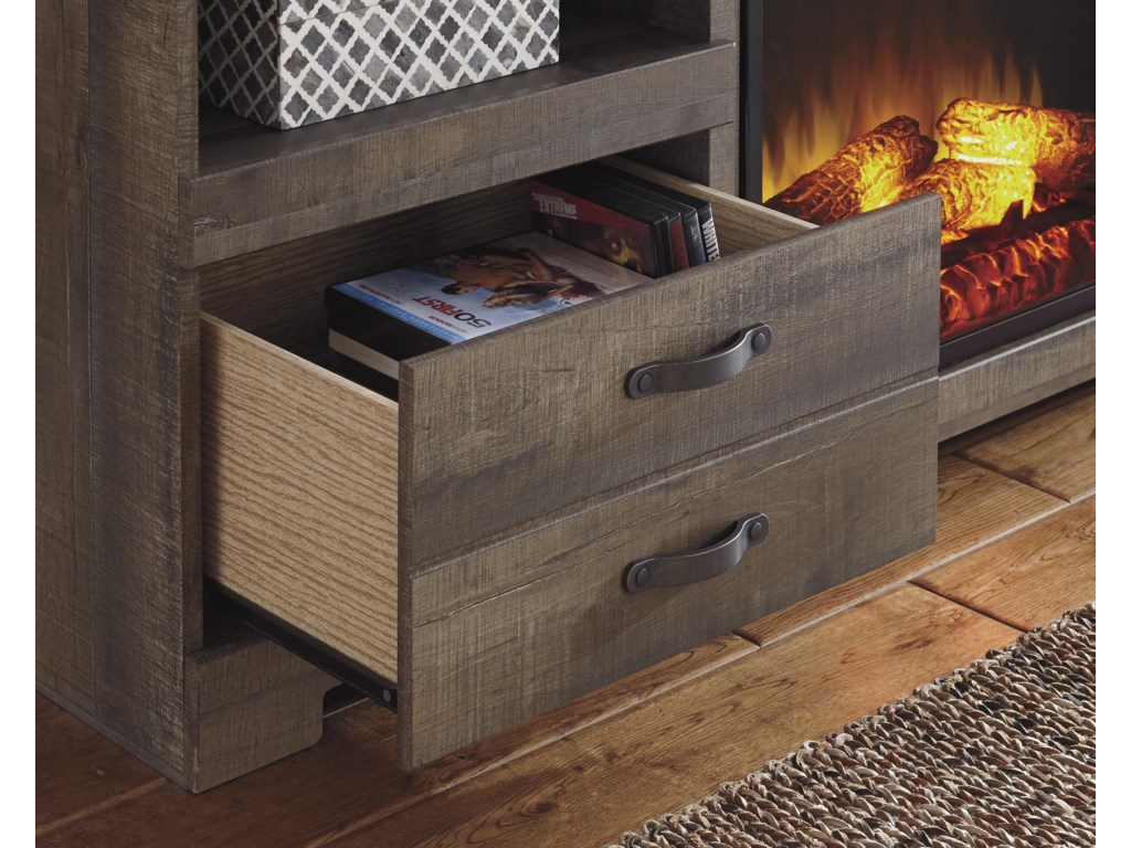 Signature Design by Ashley TrinellLarge TV Stand with Fireplace Insert