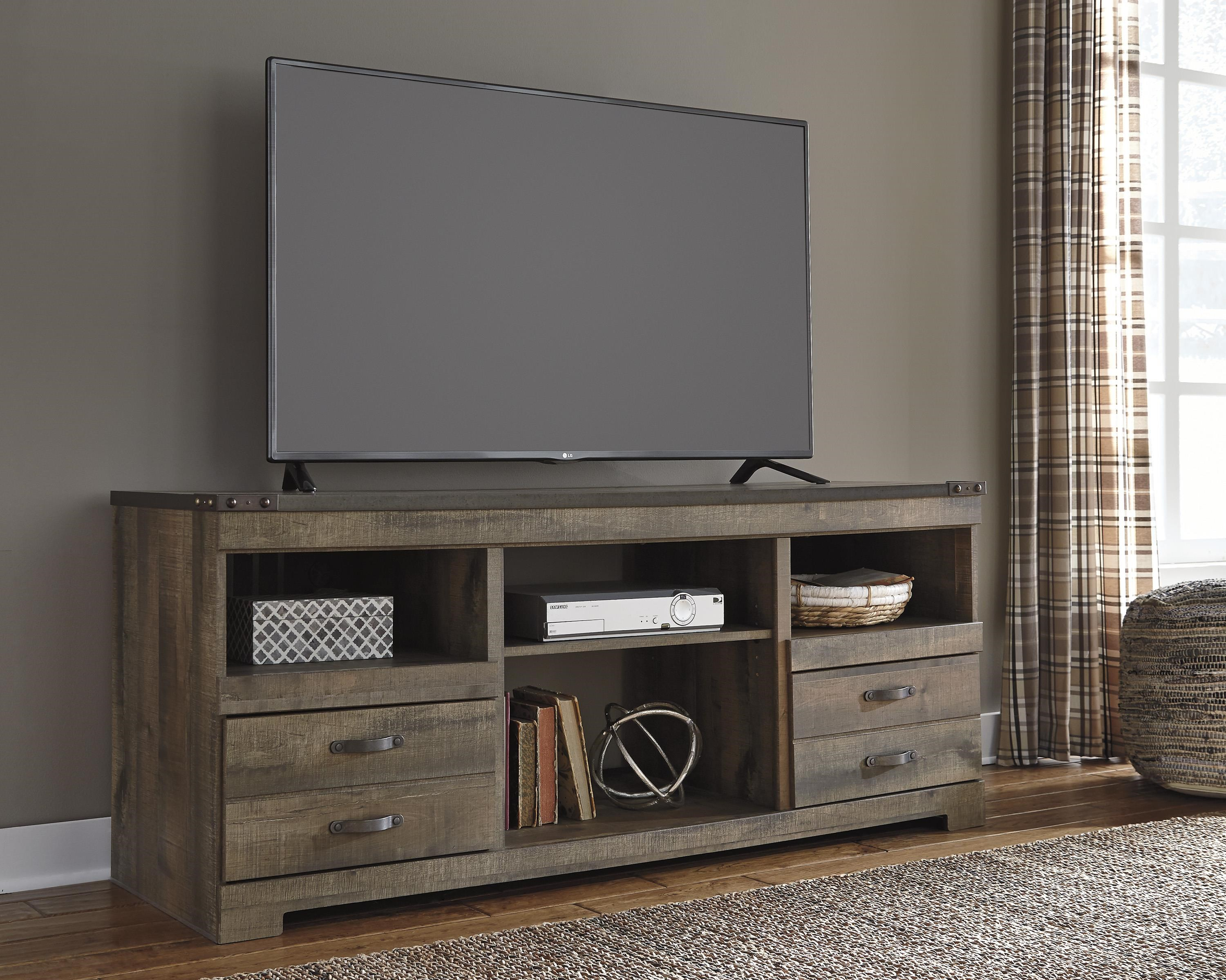 Signature Design By Ashley Trinell Rustic Large Tv Stand With Metal Rivet Detail Royal Furniture Tv Stands