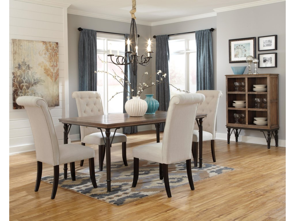 Ashley dining room furniture - Tripton 5 Piece Rectangular Dining Room Table Set W Wood Top Metal Legs By Ashley Signature Design