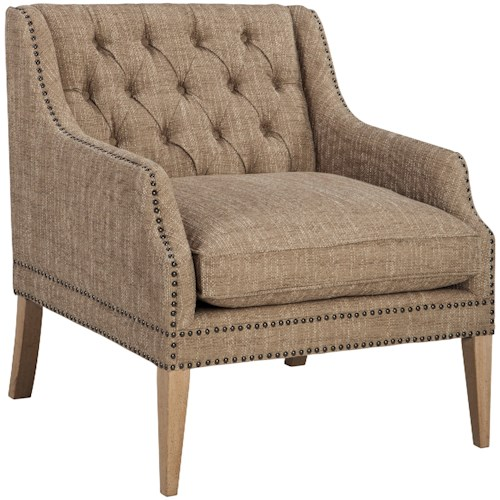 Signature Design by Ashley Trivia Tufted Back Accent Chair with Nailhead Trim