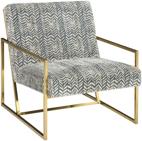 Signature Design by Ashley Trucker Gold Finish Metal Arm Accent Chair with Velvet Fabric