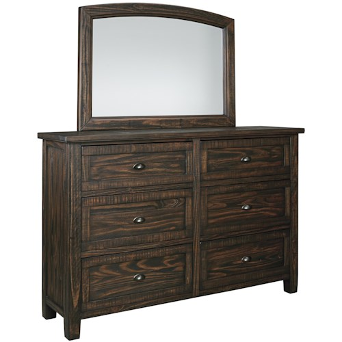 Signature Design By Ashley Trudell Solid Pinewood Dresser With Six Dovetail Drawers And Mirror