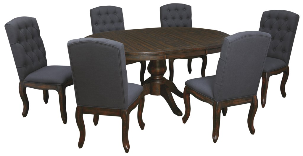 Oval Kitchen Table Set trudell 7-piece oval dining table set with upholstered side chairs