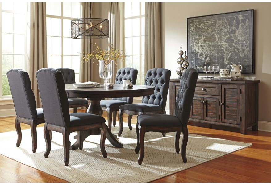 7 Piece Oval Dining Table Set With Upholstered Side Chairs