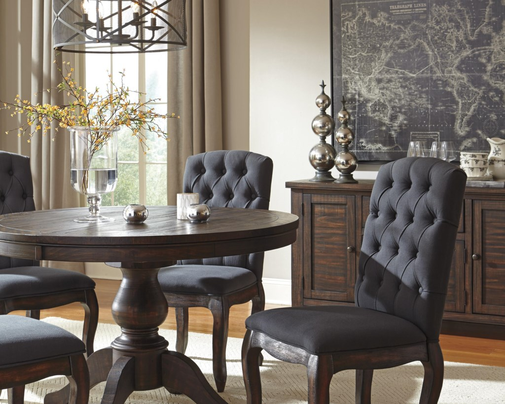 Ashley signature design trudellround dining room pedestal extension table
