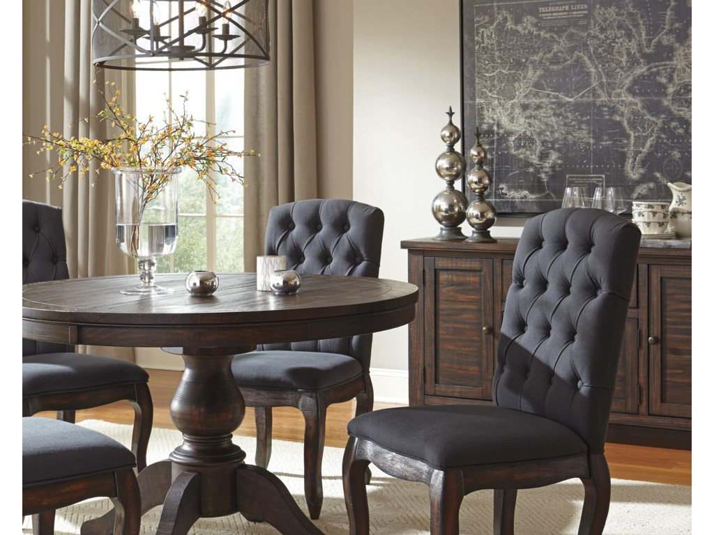 Trudell Solid Wood Pine Round Dining Room Pedestal Extension Table by  Signature Design by Ashley at Becker Furniture World