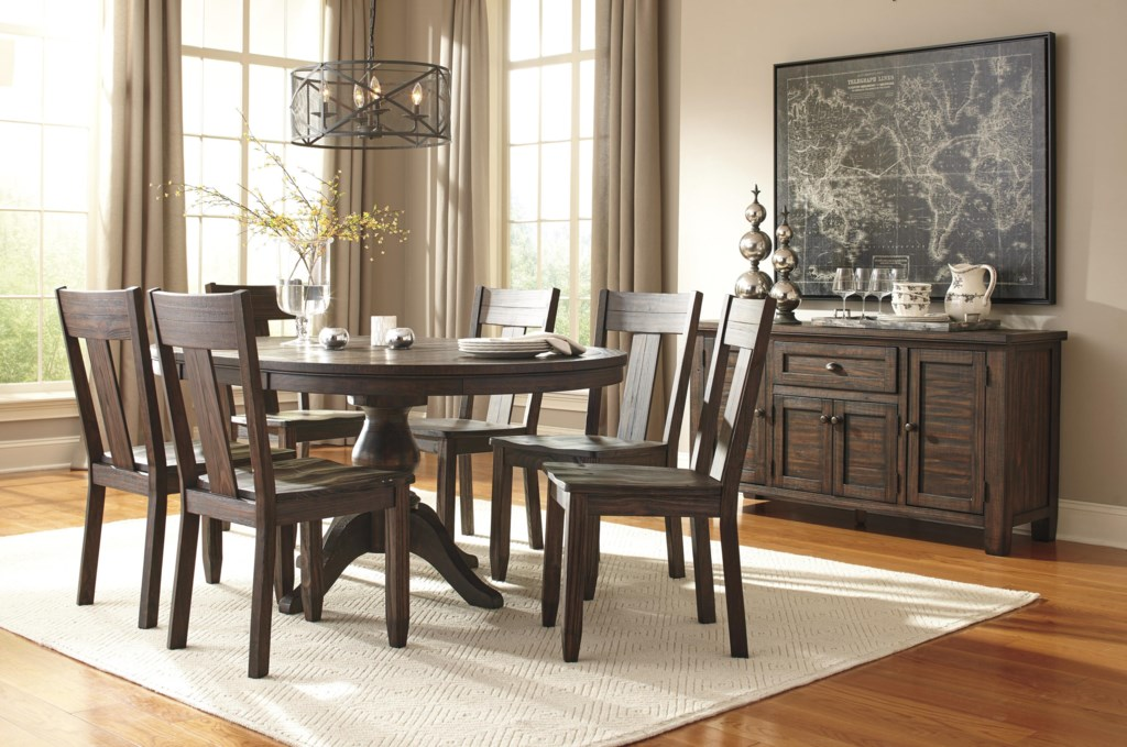 ashley signature design trudell solid wood pine round dining room