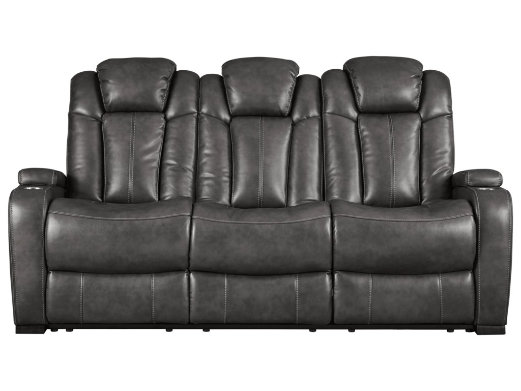 Signature Design By Ashley Turbulance Reclining Sofa W Adjule Headrests
