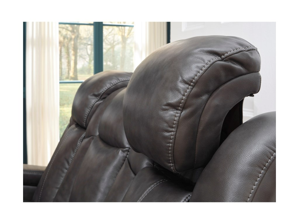 Signature Design by Ashley TurbulancePower Reclining Sofa w/ Adjustable Headrests