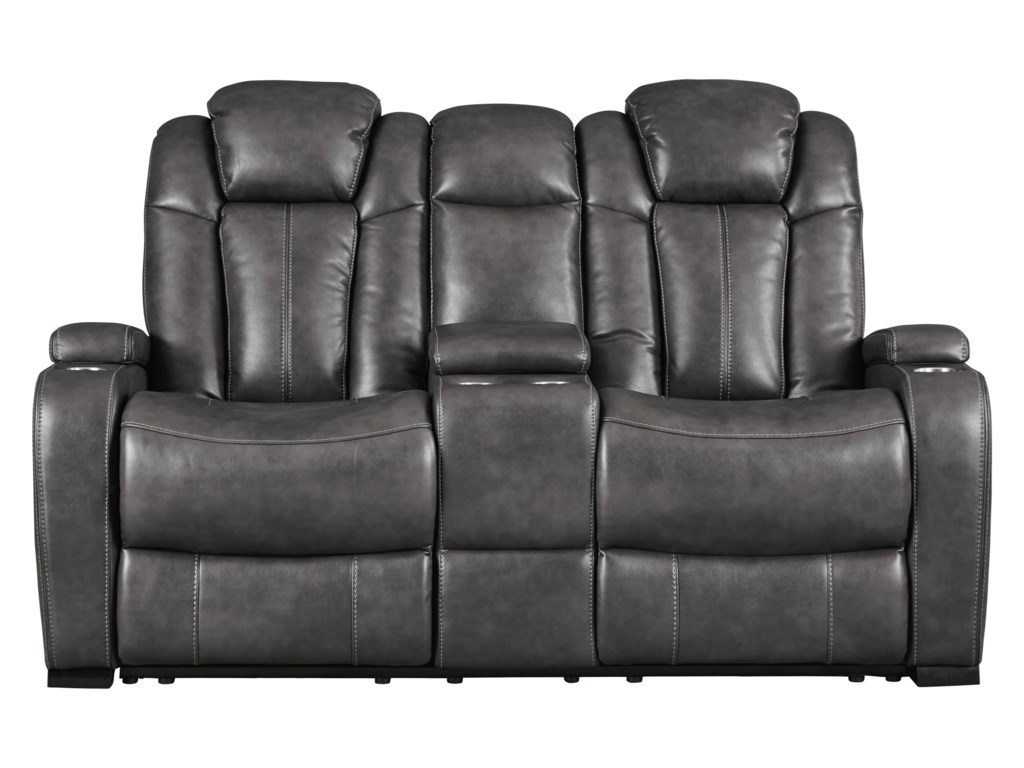 Signature Design by Ashley TurbulancePower Reclining Loveseat w/ Cnsl & Pwr Hdrst