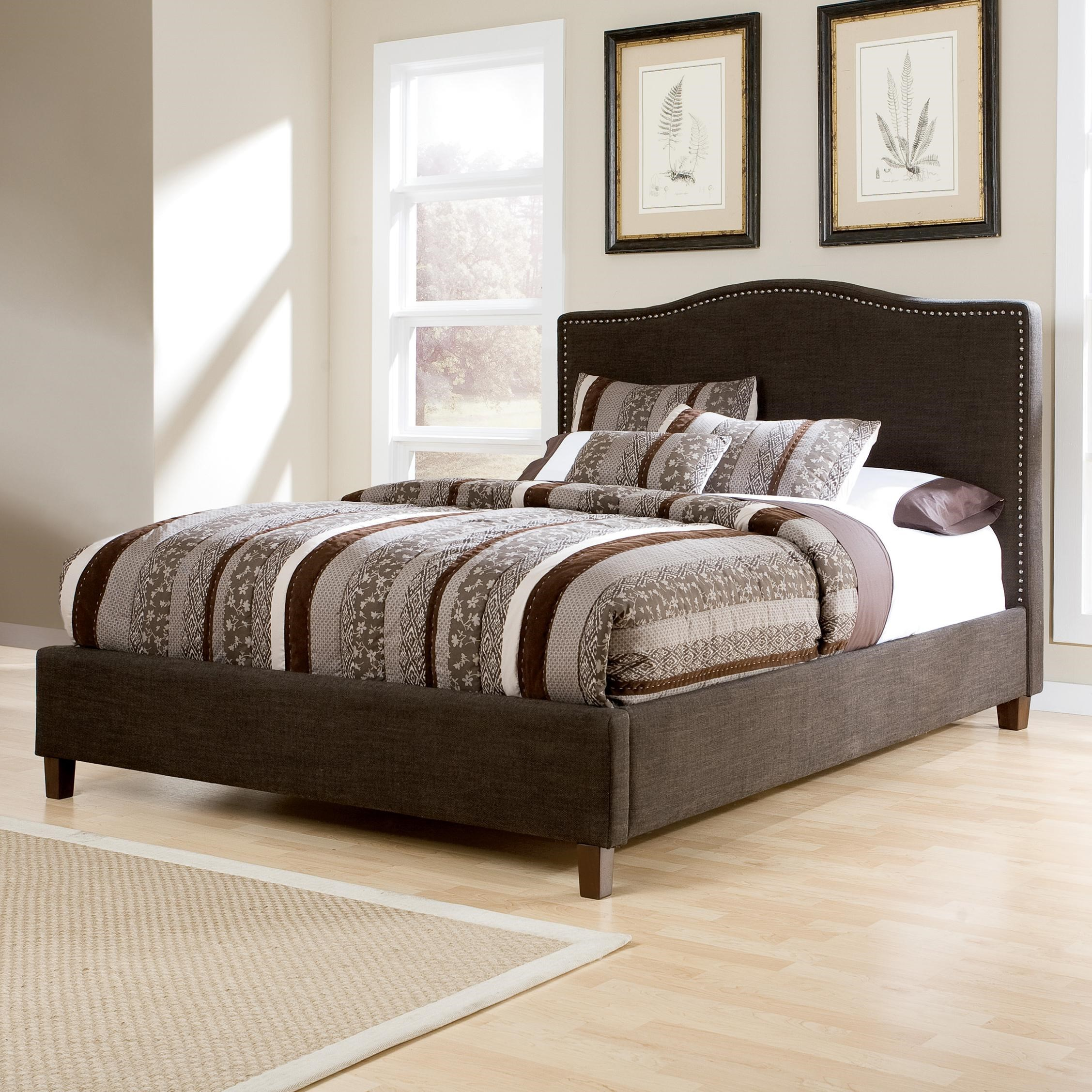 signature design by ashley kasidon queen upholstered bed with brown woven fabric arched headboard u0026 nailhead trim furniture and