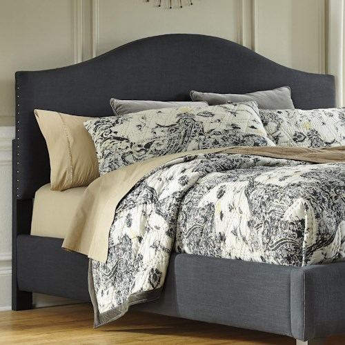 Signature Design by Ashley Kasidon Queen Upholstered Headboard in Dark Gray with Arched Shape & Nailhead Trim