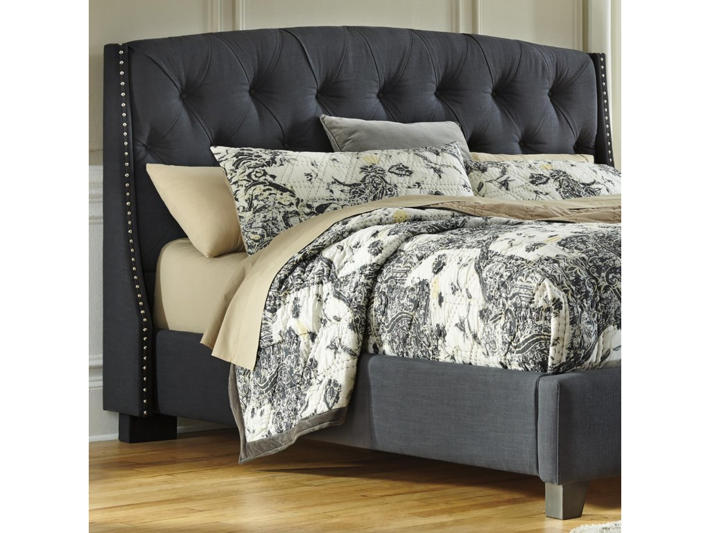 signature design by ashley kasidon kingcalifornia king  - signature design by ashley kasidon kingcalifornia king upholsteredheadboard in dark gray with tufting and nailhead trim  furniture andappliancemart