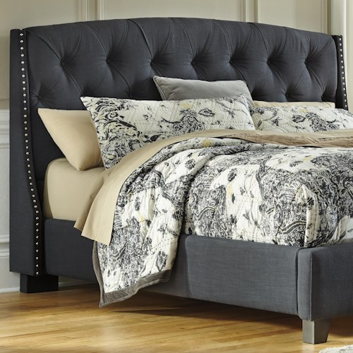 Signature Design by Ashley Kasidon King/California King Upholstered Headboard in Dark Gray with Tufting and Nailhead Trim