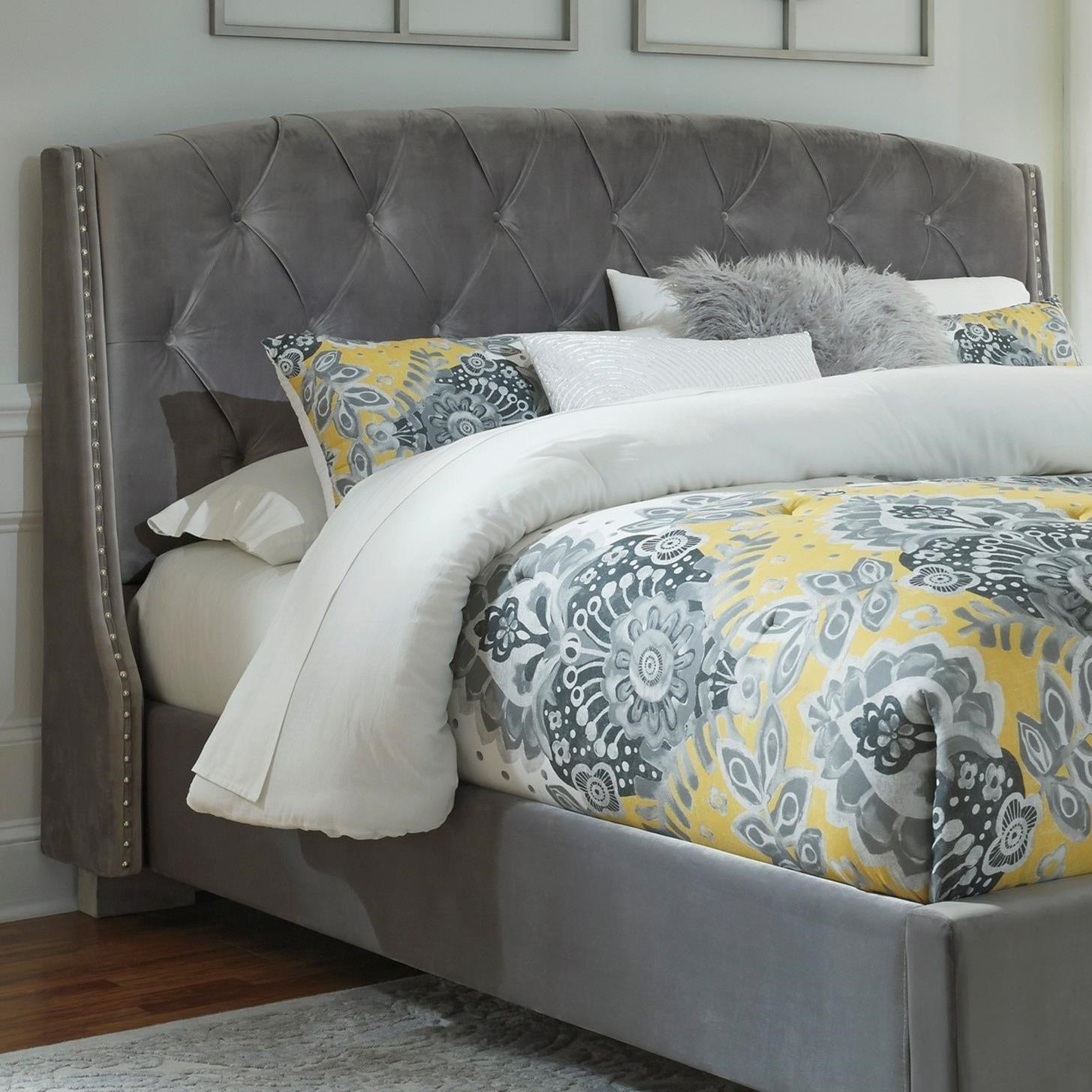queen upholstered headboard and frame beige signature design by ashley kasidon queen upholstered headboard in gray velvet