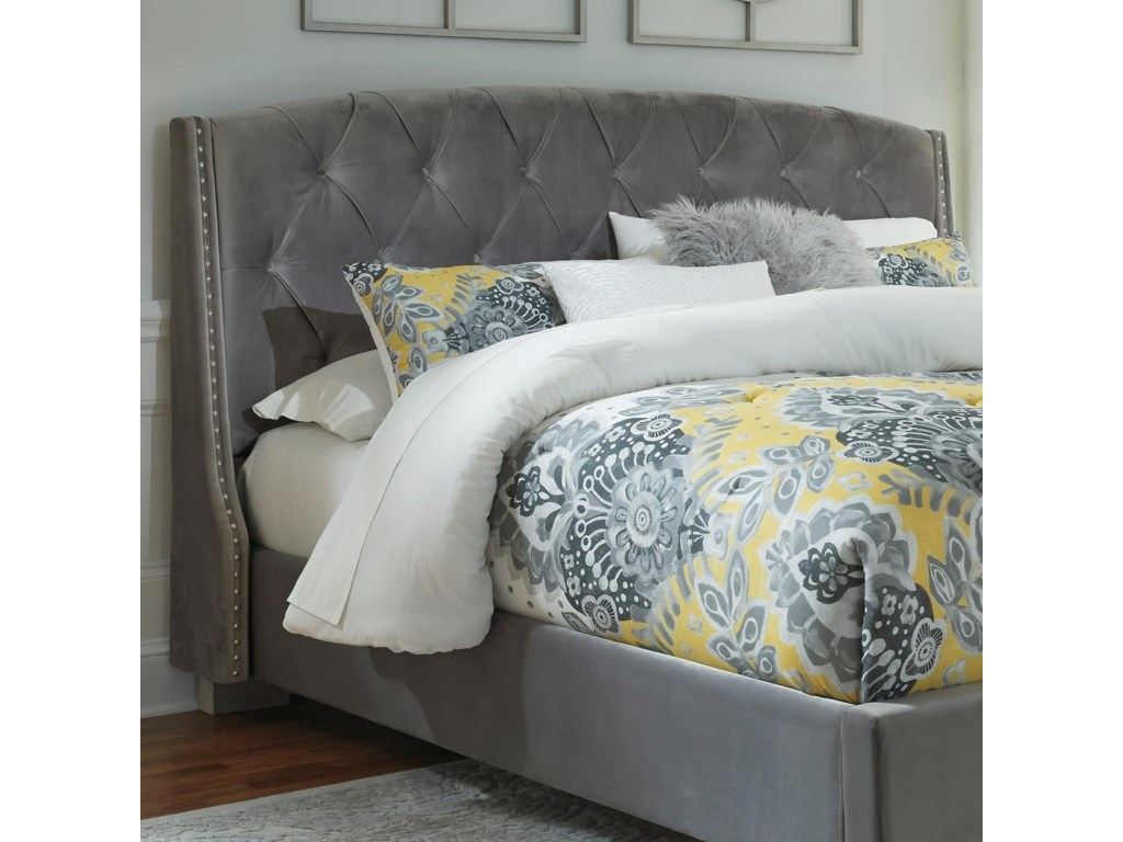 upholstered ashley dark in gray headboard king tufting with design california furniture products by