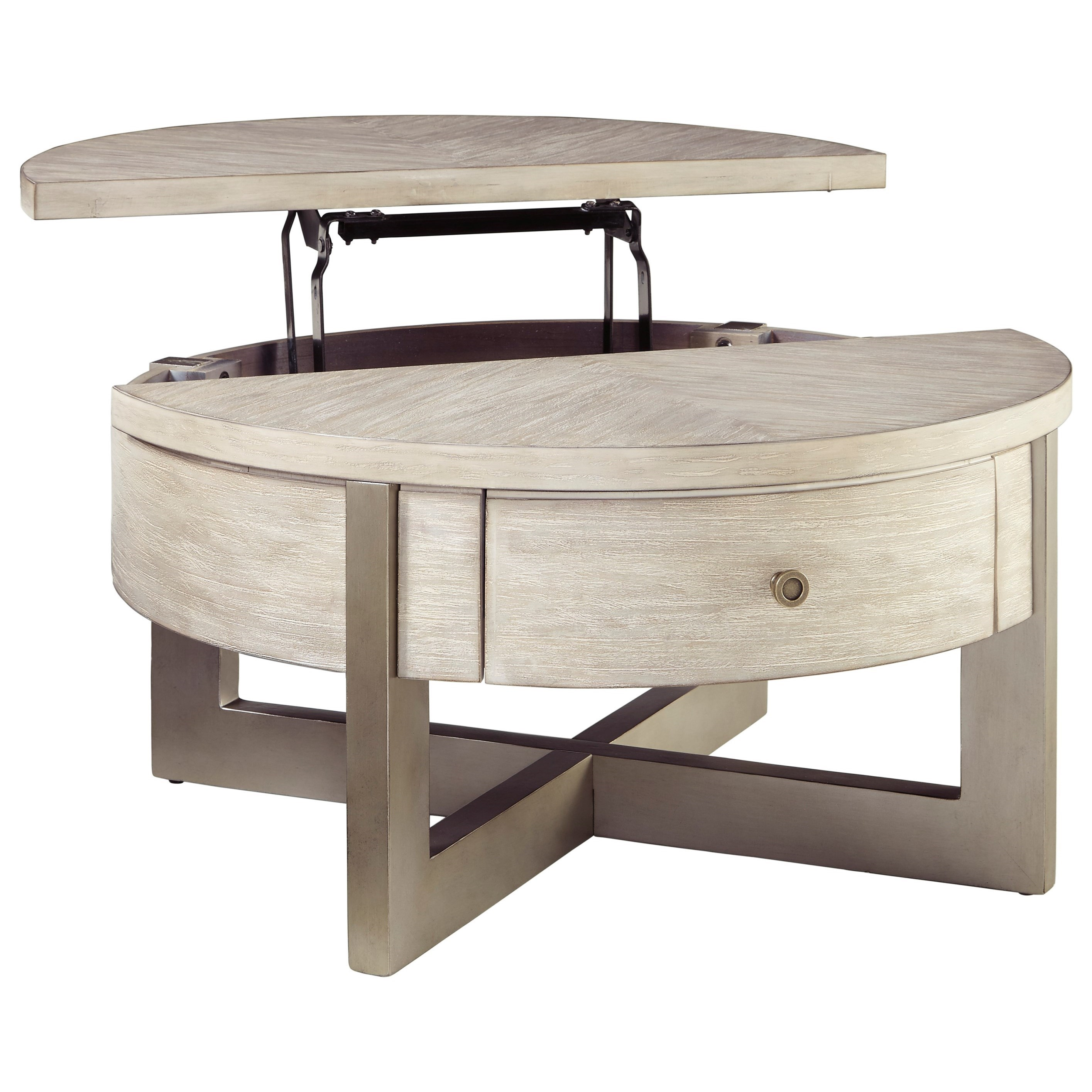 Ashley Signature Design Urlander 1351603 Contemporary Round Lift-Top  Cocktail Table Dunk & Bright Furniture Cocktail/Coffee Tables