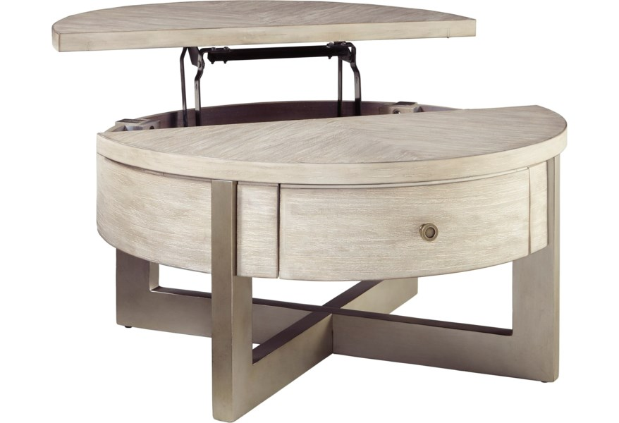 Signature Design By Ashley Urlander T673 8 Contemporary Round Lift Top Cocktail Table Northeast Factory Direct Cocktail Coffee Tables