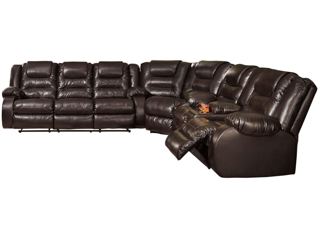 Vacherie Casual Reclining Sectional Sofa with Storage Console by Signature  Design by Ashley at Royal Furniture