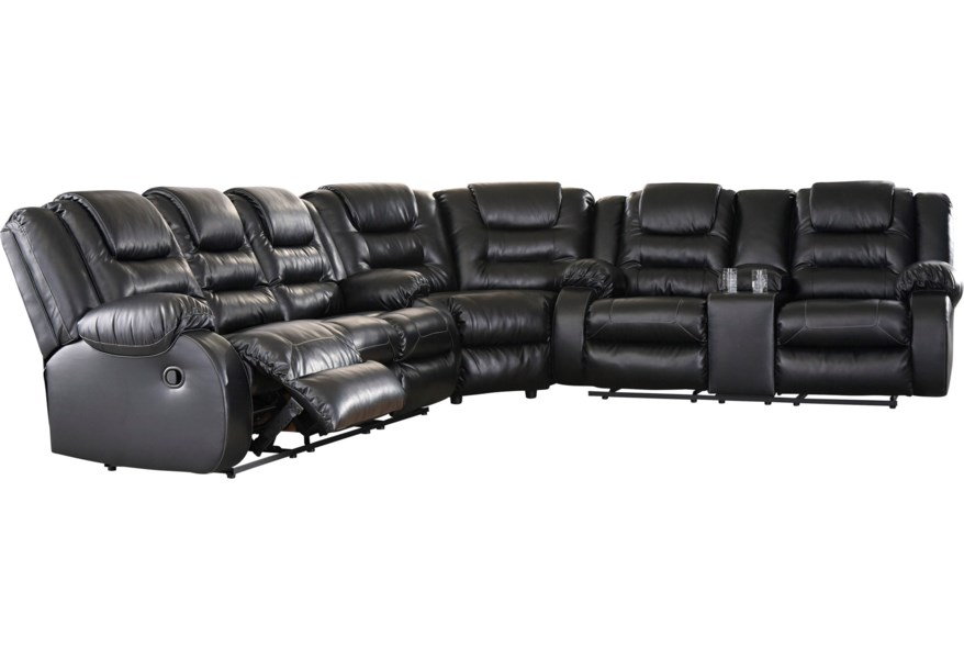 Vacherie Casual Reclining Sectional Sofa with Storage Console by Signature  Design by Ashley at Wilson\'s Furniture
