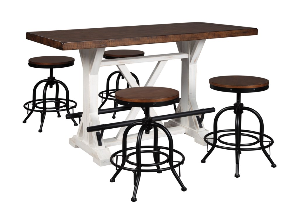 Signature Design By Ashley Valebeck 5 Piece Counter Height Dining Set Wayside Furniture Pub Table And Stool Sets