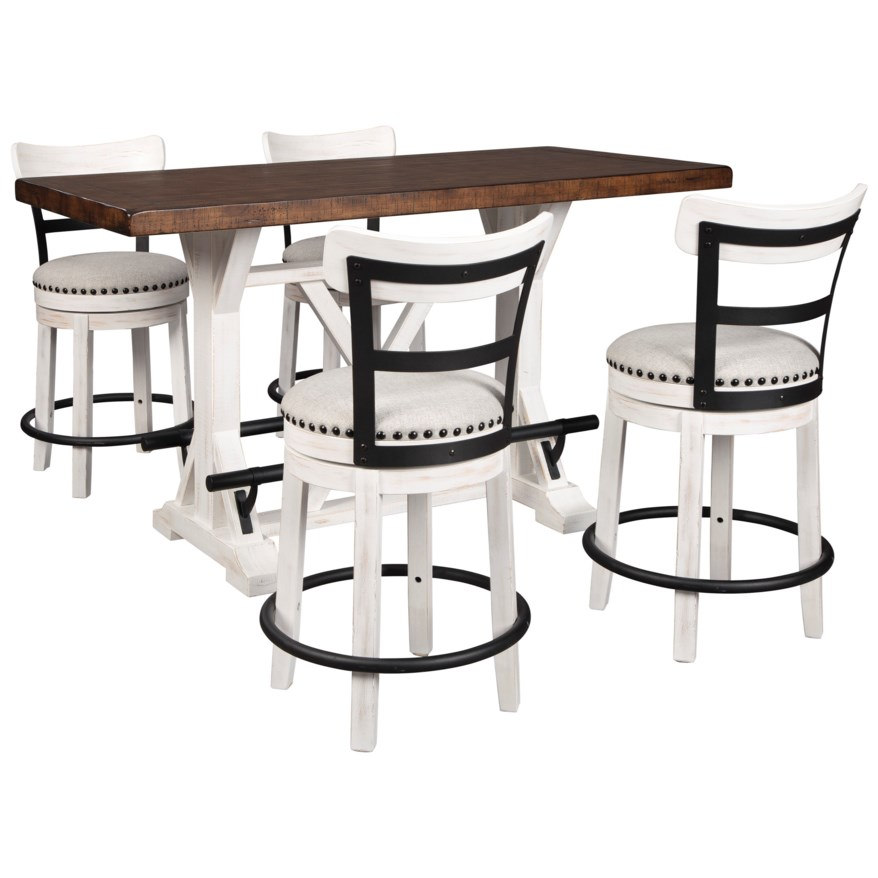 5 Piece Counter Height Dining Set White 2