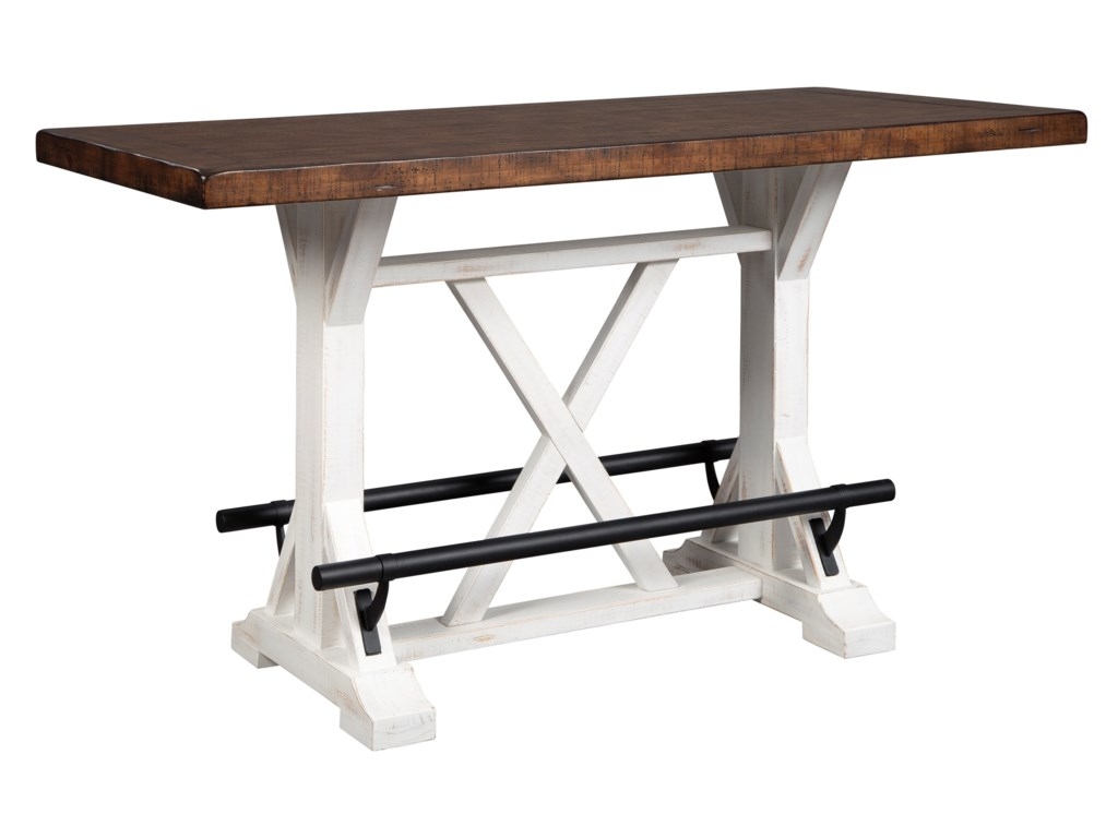 Signature Design By Ashley Valebeck Rectangular Counter Height Dining Table With Two Tone Finish Royal Furniture Pub Tables