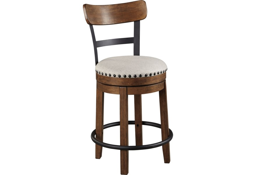 on sale a11c7 7bb8f Valebeck Counter Height Upholstered Swivel Barstool by Ashley Signature  Design at Dunk & Bright Furniture