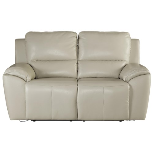 Signature Design by Ashley Valeton Contemporary Leather Match Reclining Power Loveseat