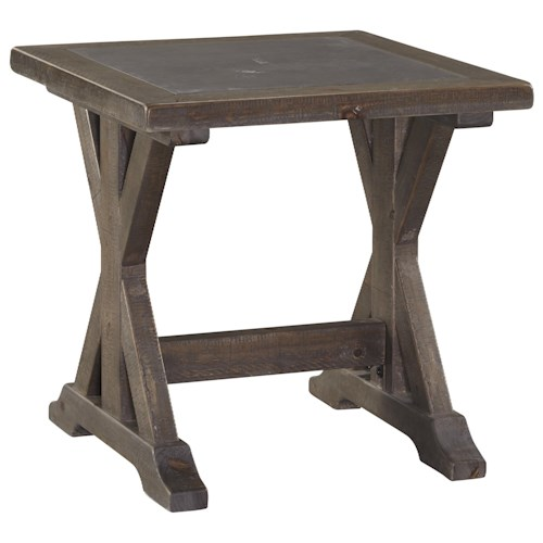 Signature Design by Ashley Valkner Rustic Square End Table with Trestle Base & Insert Top