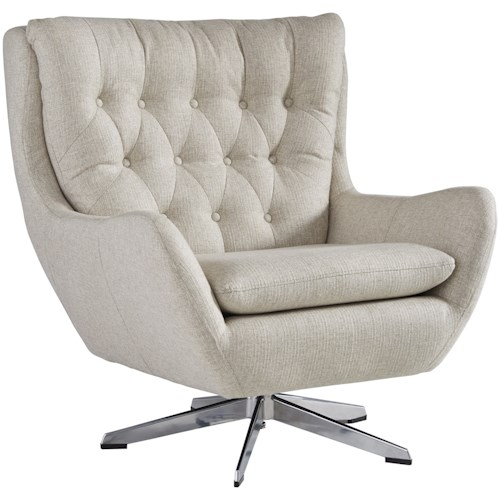 Signature Design by Ashley Velburg Contemporary Swivel Base Accent Chair with Button Tufted Back
