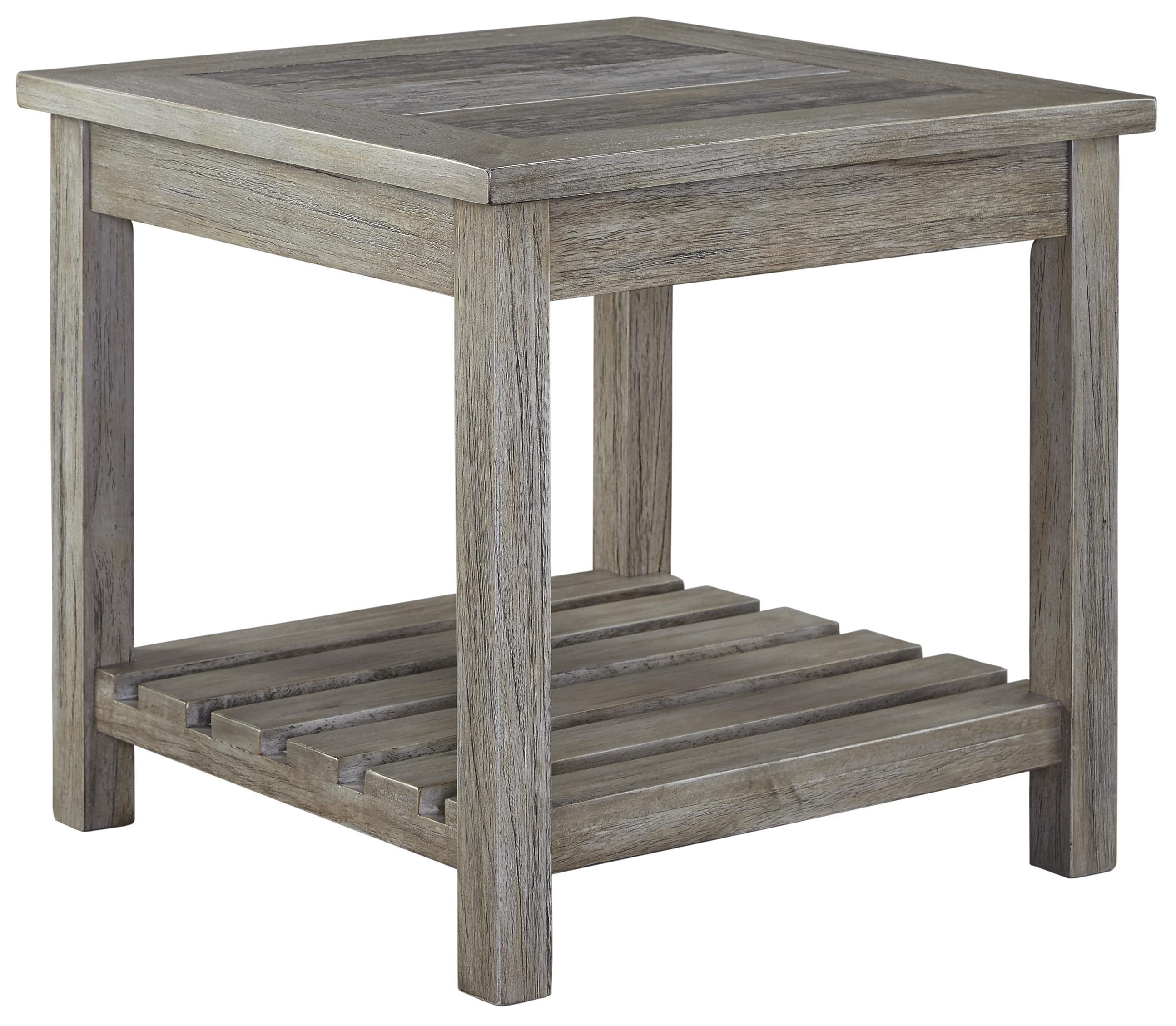 Good Signature Design By Ashley Veldar Square End Table With Ceramic Tile Top  And Slat Shelf