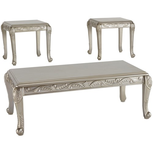 Signature Design by Ashley Verickam Occasional Table Set with Scrolled Details