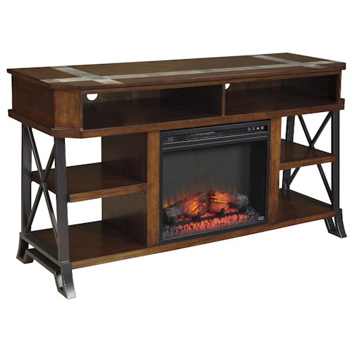 Signature Design by Ashley Vinasville Large TV Stand with Metal Sides and Tile Inserts with Fireplace Insert