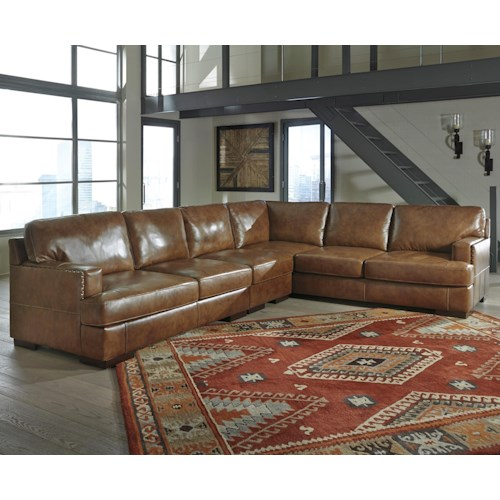 Signature Design By Ashley Vincenzo Leather Match 3 Piece Sectional Furniture Mart Colorado