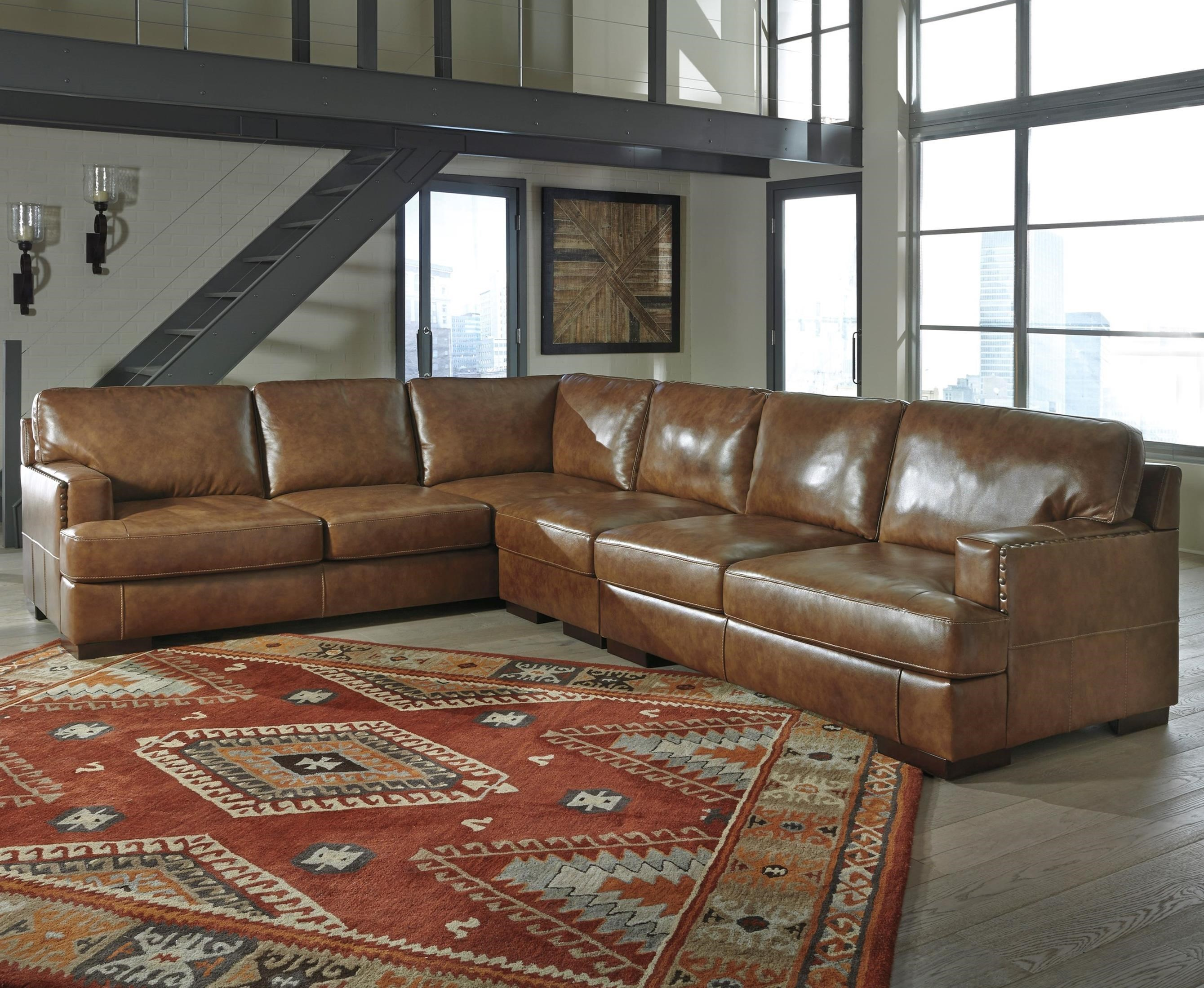 signature design by ashley vincenzo leather match 3piece sectional