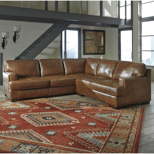 Signature Design By Ashley Vincenzo Leather Match 2 Piece Sectional Knight Furniture