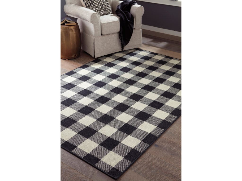 Signature Design by Ashley Casual Area RugsJuji Black/Gray/White Medium Rug