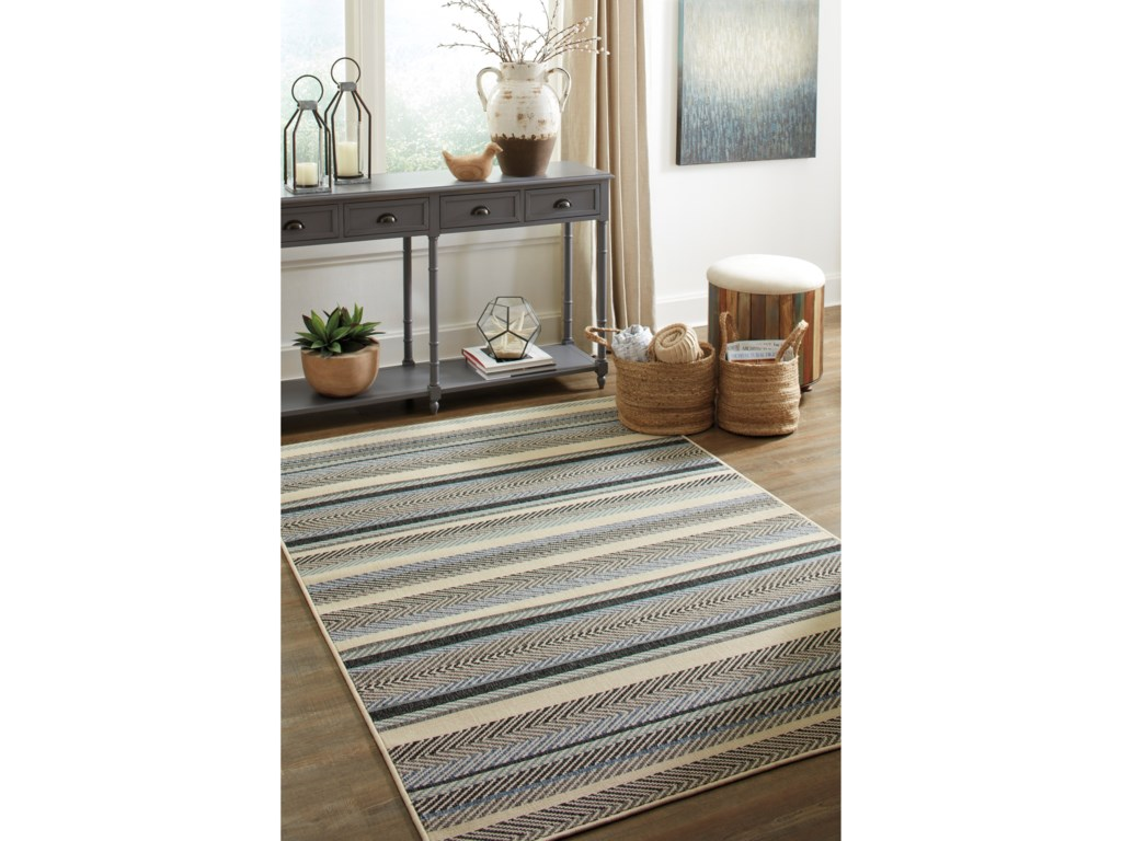 Signature Design by Ashley Casual Area RugsTroost Blue/Cream Large Rug