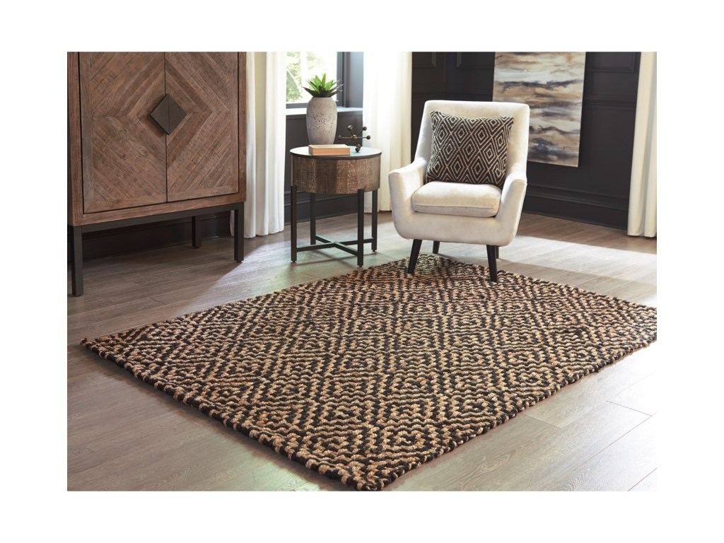 Signature Design by Ashley Casual Area RugsBroox Natural/Black Medium Rug