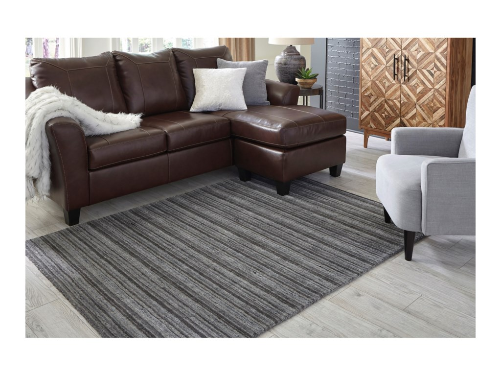 Signature Design by Ashley Casual Area RugsKellsey Black/Charcoal Large Rug