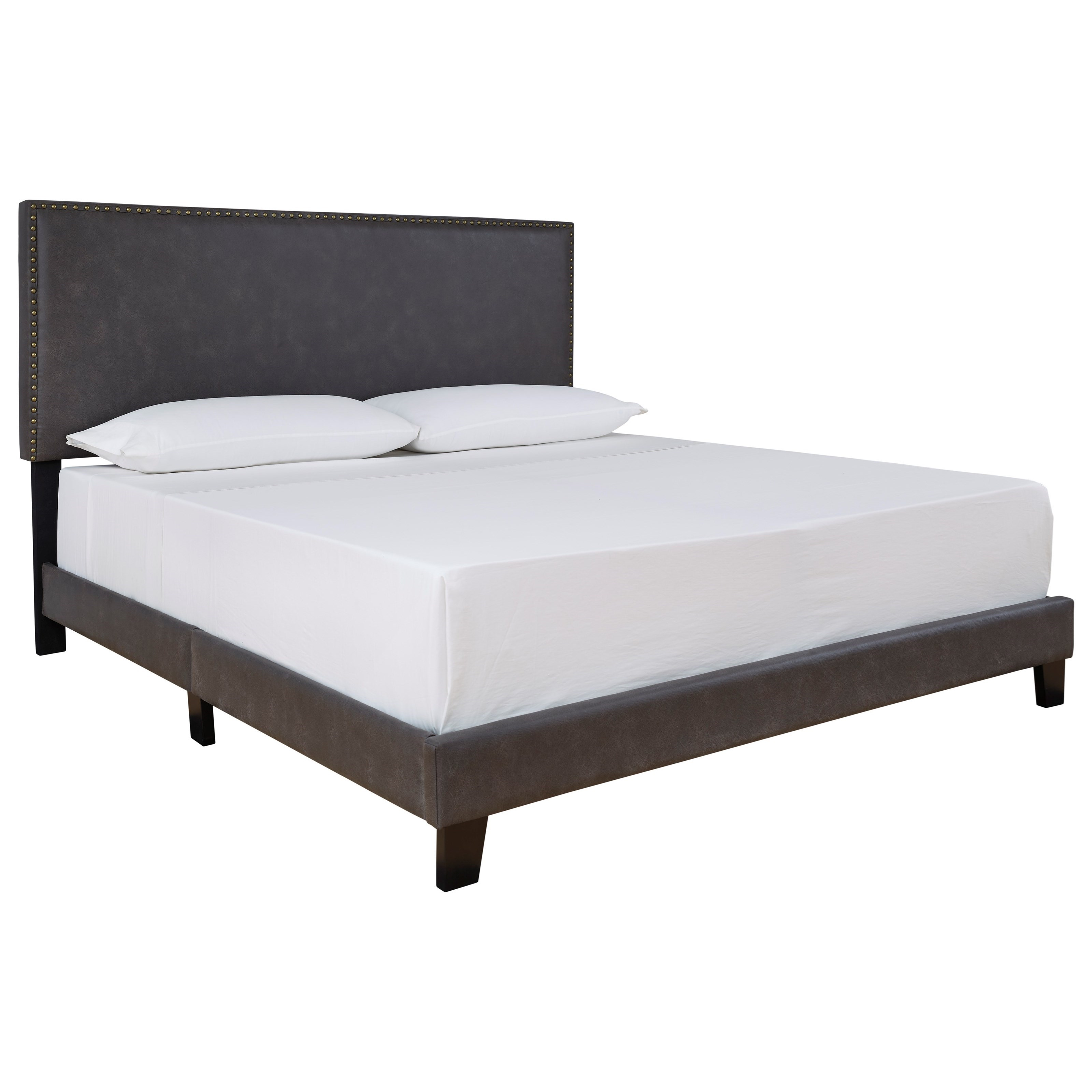 Signature Design By Ashley Vintasso Queen Upholstered Bed In Grayish Brown Faux Leather Royal Furniture Upholstered Beds