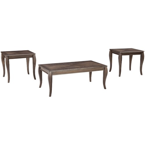 Signature Design by Ashley Vintelli Occasional Table Set with Inlay Tabletop Design
